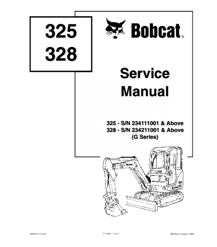BOBCAT 325, 328 COMPACT EXCAVATOR SERVICE REPAIR MANUAL