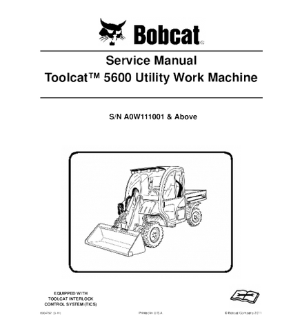 BOBCAT 5600 TOOLCAT UTILITY VEHICLE SERVICE REPAIR MANUAL