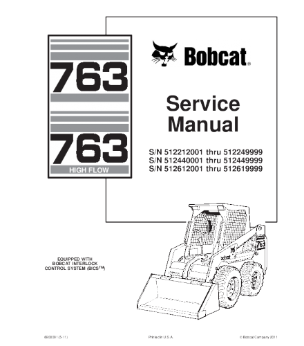 BOBCAT 763 SKID STEER LOADER SERVICE REPAIR MANUAL