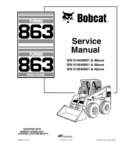 BOBCAT 863 SKID STEER LOADER SERVICE REPAIR MANUAL