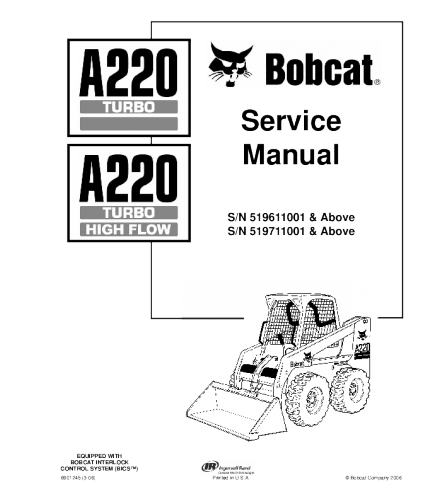 BOBCAT A220 TURBO SKID STEER LOADER SERVICE REPAIR MANUAL