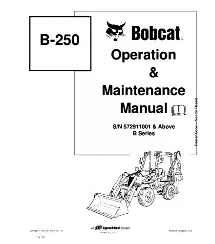 BOBCAT B250 BACKHOE LOADER OPERATION AND MAINTENANCE MANUAL