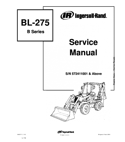 BOBCAT BL275 BL-275 B SERIES BACKHOE LOADER SERVICE REPAIR MANUAL