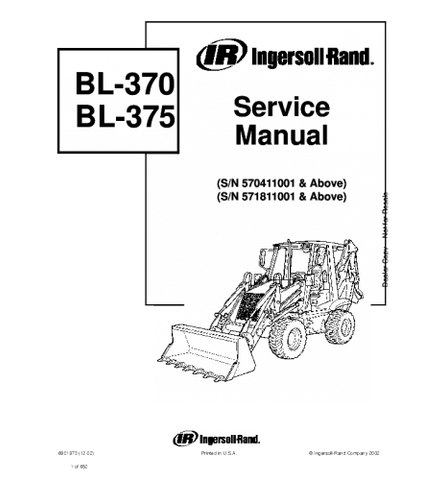 BOBCAT BL370, BL375, BL-370, BL-375 BACKHOE LOADER SERIES SERVICE REPAIR MANUAL