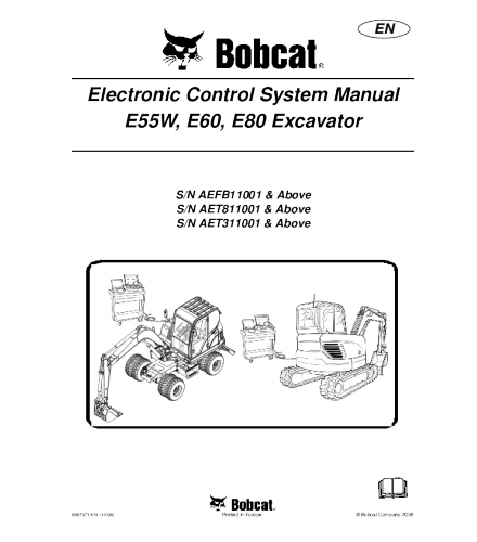 BOBCAT E55W, E60, E80 EXCAVATOR SERVICE REPAIR MANUAL