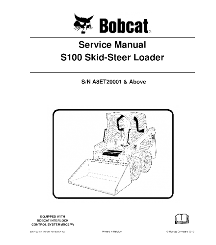 BOBCAT S100 SKID STEER LOADER SERVICE REPAIR MANUAL