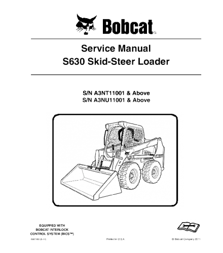 BOBCAT S630 SKID STEER LOADER SERVICE REPAIR MANUAL