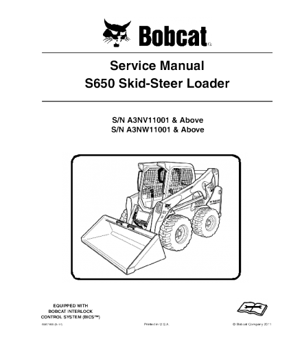 BOBCAT S650 SKID STEER LOADER SERVICE REPAIR MANUAL
