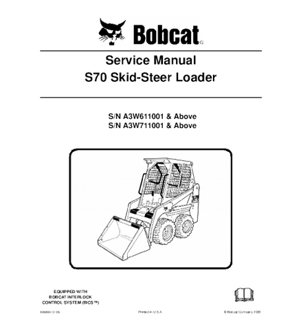 BOBCAT S70 SKID STEER LOADER SERVICE REPAIR MANUAL