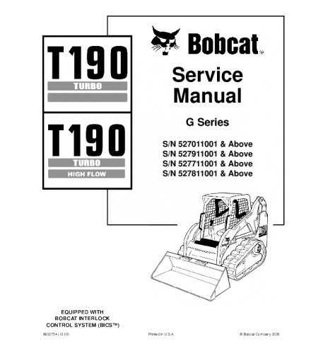 BOBCAT T190 TURBO HIGH FLOW COMPACT TRACK LOADER SERVICE REPAIR MANUAL