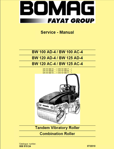 Download Bomag BW 100 120 125 AC-4 AD-4 Combination Roller (Tandem Vibratory) Service Repair Manual