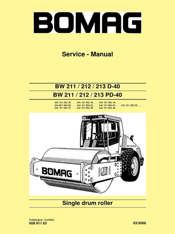 Download Bomag BW 211 212 212 D-40 PD-40 Single Drum Roller Service Repair Manual