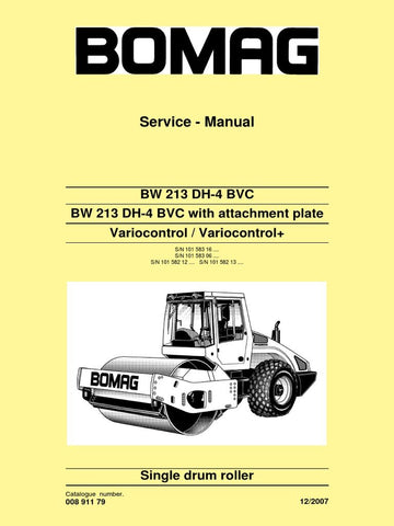 Download Bomag BW 213 DH-4 BVC Single Drum Roller Service Repair Manual