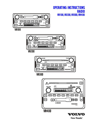 VOLVO VR100, VR200, VR300, VR400 RADIO OPERATING INSTRUCTIONS MANUAL