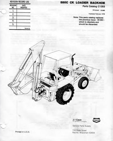 Case 580C CK Tractor Parts Manual Download