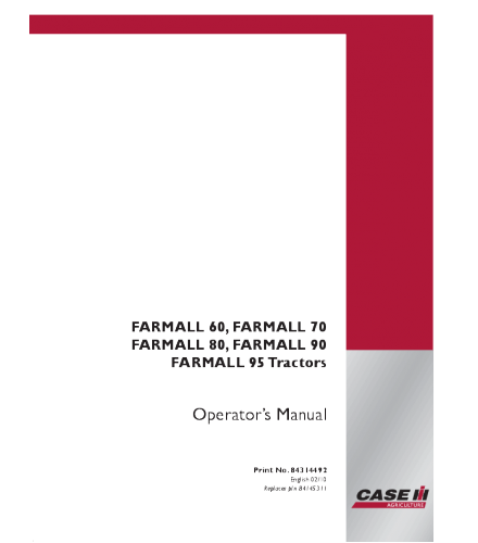 Case IH Farmall 60 70 80 90 95 Tractor Operator Manual PDF
