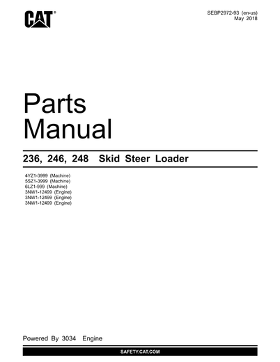 Caterpillar 246 SKID STEER LOADER Spare Parts Catalog Manual 5SZ