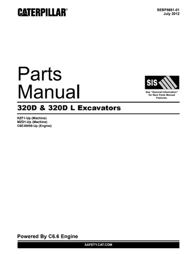 Caterpillar 320D 320DL Excavator Spare Parts Catalog Manual Download