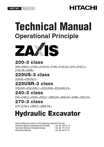 DOWNLOAD NOW HITACHI ZAXIS 200-3, 225US-3, 225USR-3, 240-3, 270-3 CLASS EXCAVATOR FULL COMPLETE SERVICE MANUAL