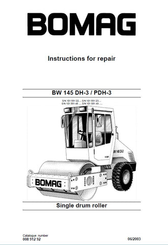 Download Bomag BW 145 DH-3 / PDH-3 Single Drum Roller Service Repair Manual