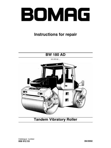 Download Bomag BW 180 AD Tandem Vibratory Roller Service Repair Manual