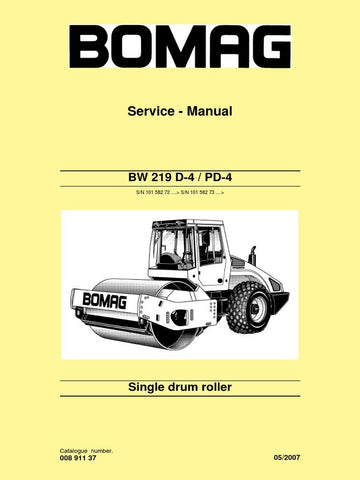 Download Bomag BW 219 D-4 / PD-4 Single Drum Roller Service Repair Manual