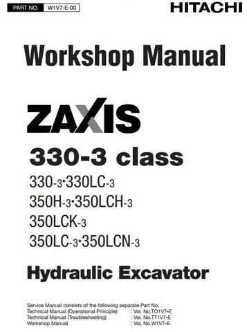 Download Hitachi Zaxis 330-3, 330LC-3, 350H-3, 350LC-3, 350LCH-3, 350LCK-3, 350LCN-3 Excavator Full Complete Workshop Service Repair Technical Manual