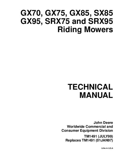 JOHN DEERE GX70 GX75 GX85 SX85 GX95 SRX75 SRX95 RIDING MOWERS SERVICE MANUAL DOWNLOAD
