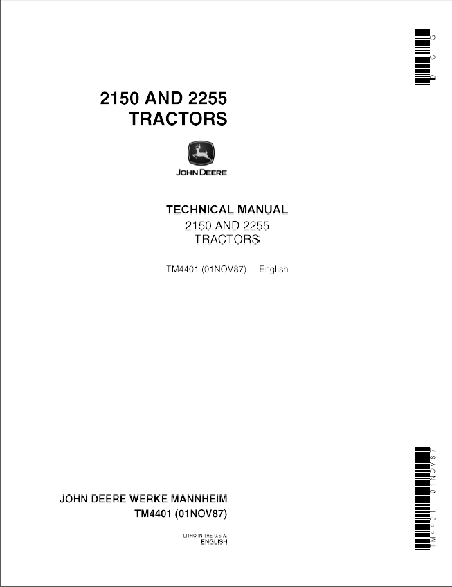 John Deere 2150, 2255 Tractor Service Technical Manual TM4401