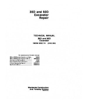 John Deere 35D 50D Excavator Service Repair Manual TM2264