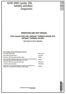 John Deere 624K 4WD Wheel Loader Operation & Test Service Manual TM13210X19