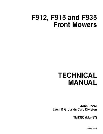 John Deere F912, F915, F935 Front Mower Model Service Repair Technical Manual TM1350