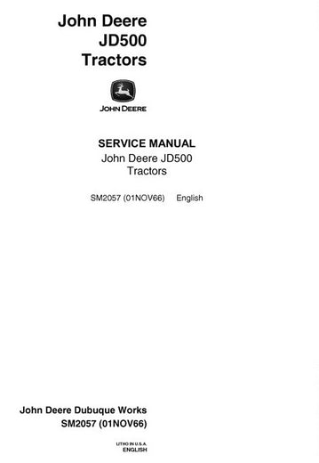 John Deere JD500-A Series Backhoe loader Service Technical Manual SM2057