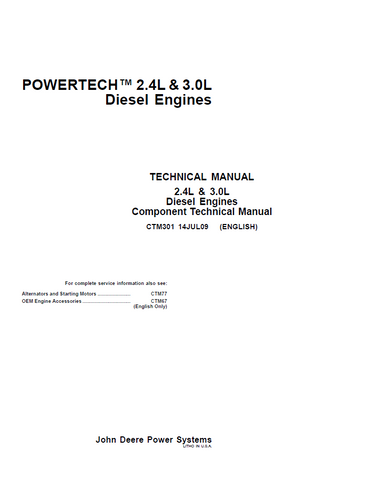 John Deere PowerTech 2.4L 3.0L Diesel Engine Service Repair Technical Manual CTM301