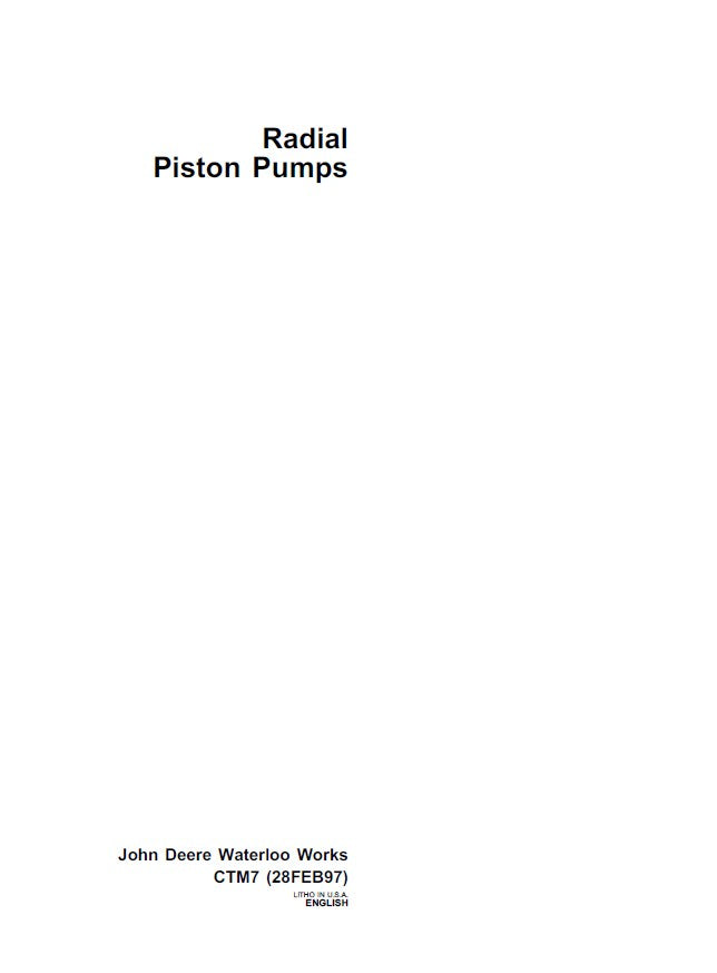 John Deere Radial Piston Pumps Component Service Technical Manual CTM7
