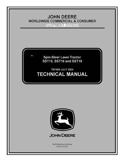 John Deere Spin Steer SST15, SST16, SST18 Service Repair Manual TM1908
