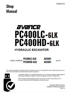 Komatsu Pc400lc-6lk, Pc400hd-6lk Hydraulic Excavator Shop Service Repair Manual Download