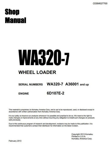 Komatsu Wheel Loader WA320-7 USA and up Workshop Service Repair Manual