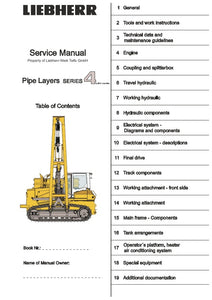 Liebherr RL 44 64 Pipe Layer Series 4 Litronic Service Manual