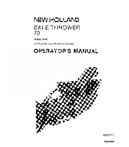 NEW HOLLAND 70 BALE THROWER OPERATOR'S MANUAL PDF