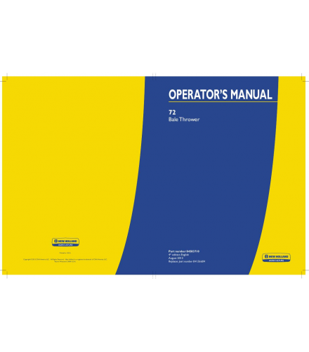 NEW HOLLAND 72 BALE THROWER OPERATOR'S MANUAL PDF