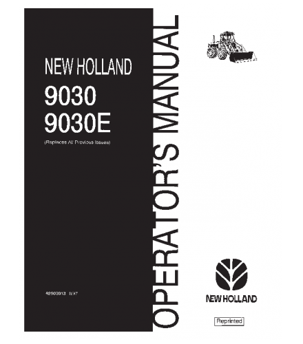 NEW HOLLAND 9030 9030E BI - DIRECTIONAL TRACTOR OPERATOR'S MANUAL