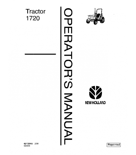 NEW HOLLAND FORD 1720 TRACTOR OPERATOR'S MANUAL