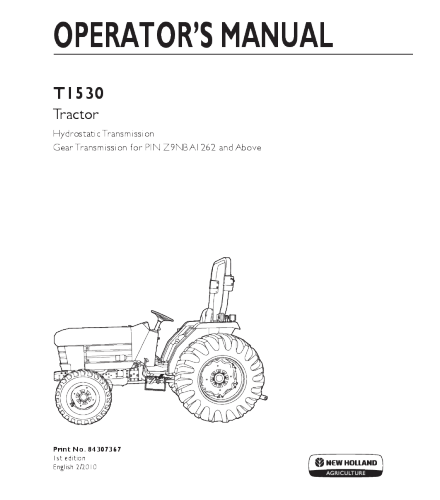NEW HOLLAND T1530 TRACTOR OPERATOR'S MANUAL