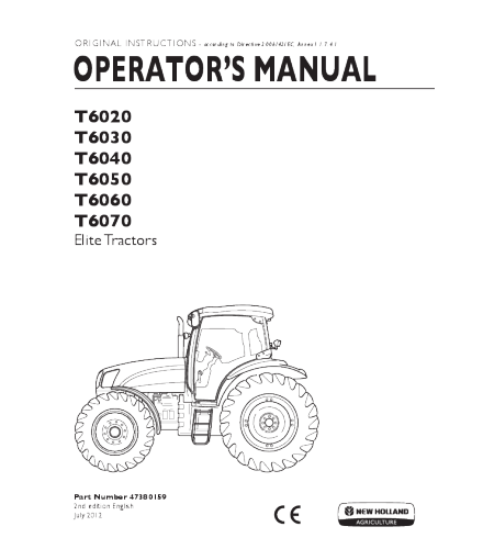 NEW HOLLAND T6020, T6030, T6040, T6050, T6060, T6070 ELITE TRACTOR OPERATOR'S MANUAL