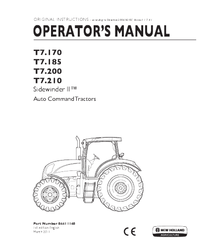 NEW HOLLAND T7.170, T7.185, T7.200, T7.210 SIDEWINDER II TRACTOR OPERATOR'S MANUAL