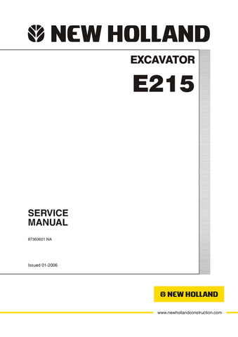 New Holland E215 Excavator Service Repair Manual 87360601NAR0