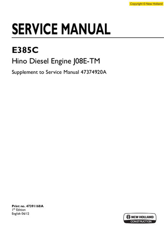 New Holland E385C J08E-TM Hino Diesel Engine Workshop Service Repair Manual