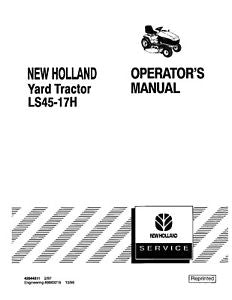 New Holland LS45-17H Yard Tractor Operators Manual