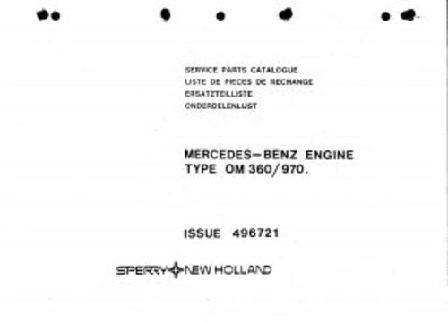 New Holland OM 360 970 Tractor Parts Catalog Manual